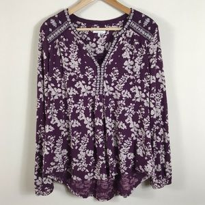 Lucky Brand Boho Floral Print Peasant Top